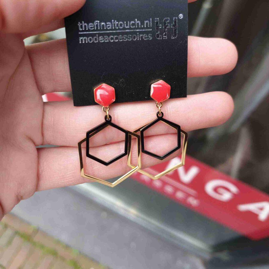 Oorhanger stainless steel zeshoek met rode steen
