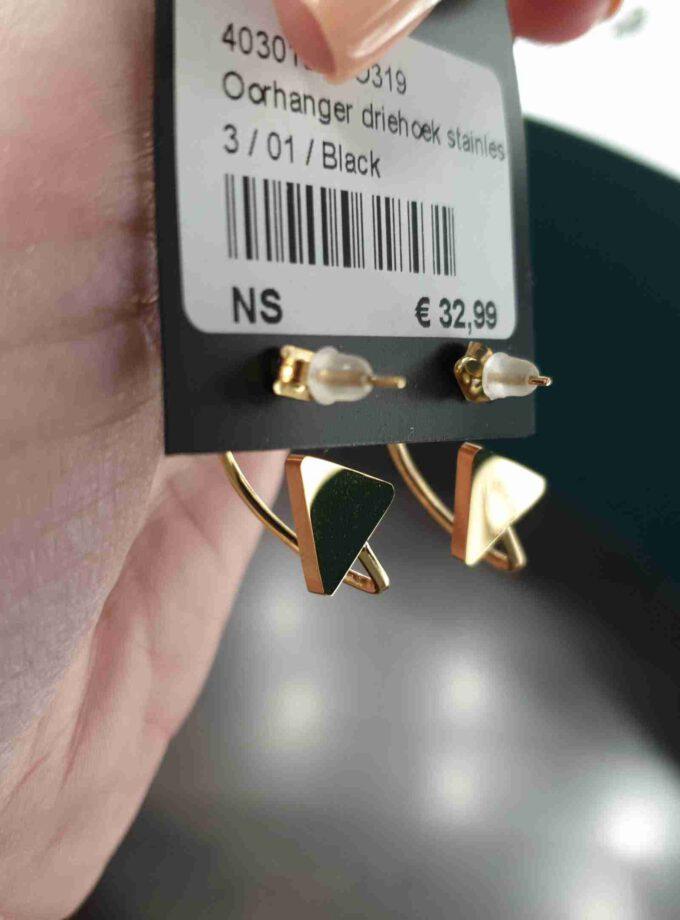 Ronde oorhanger driehoek goudkleur stainless steel (5)