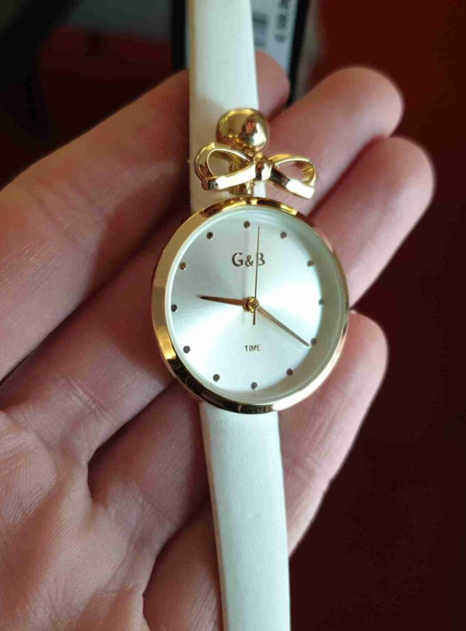 Horloge smalle band en strikje in wit