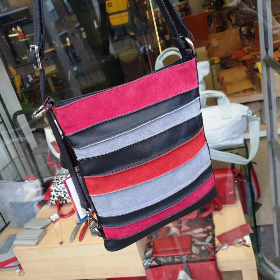 mywalit schoudertas suede stripes