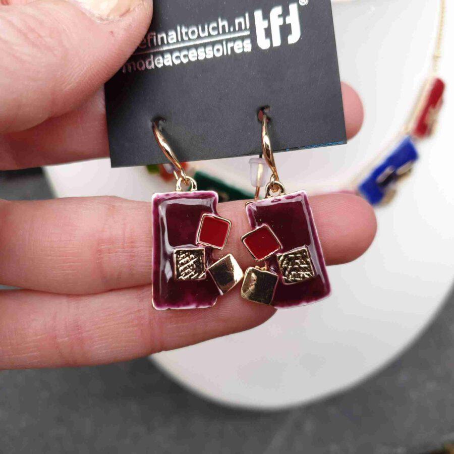 oorbellen emaille rechthoeken gekleurd (1)