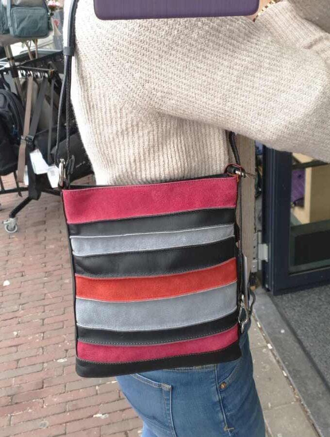 schoudertasje mywalit zwart met grijs