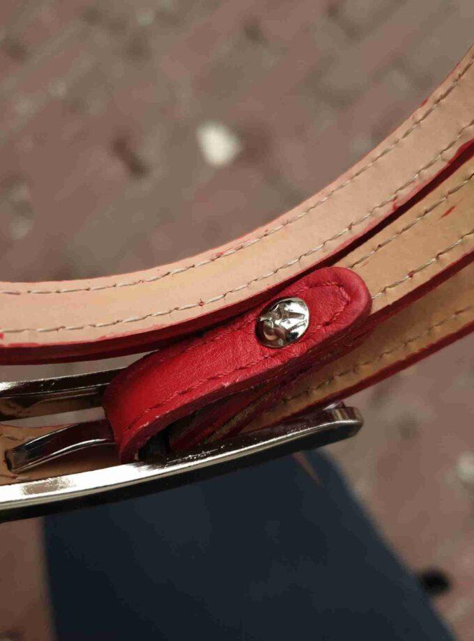 Smalle leren riem rood 1cm met rechthoekige gesp