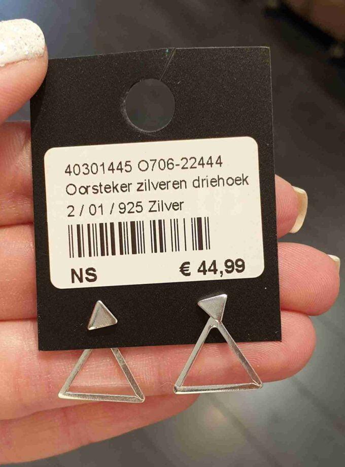 zilver oorbel driehoeken