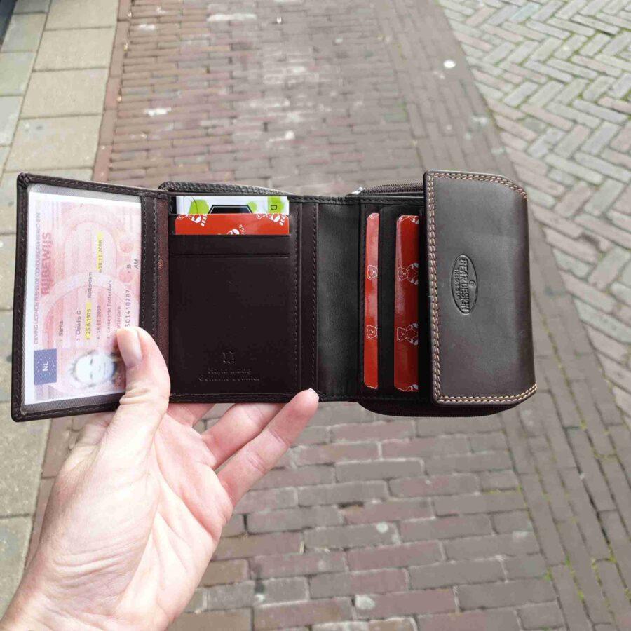 Bear Design portemonnee rits kleingeld 9 CC bruin