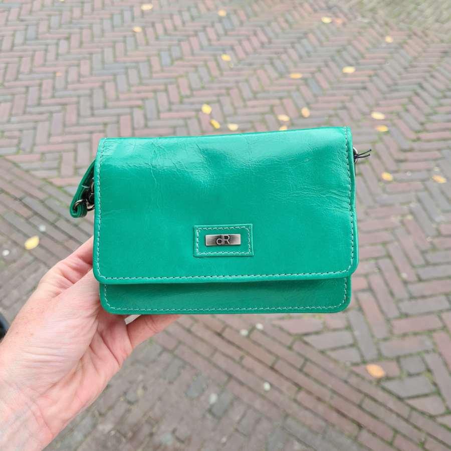 Groen leren tasje met klepje DR Amsterdam