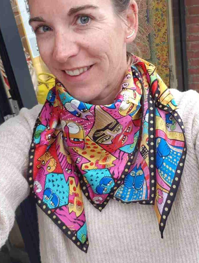 Zijden sjaal katten