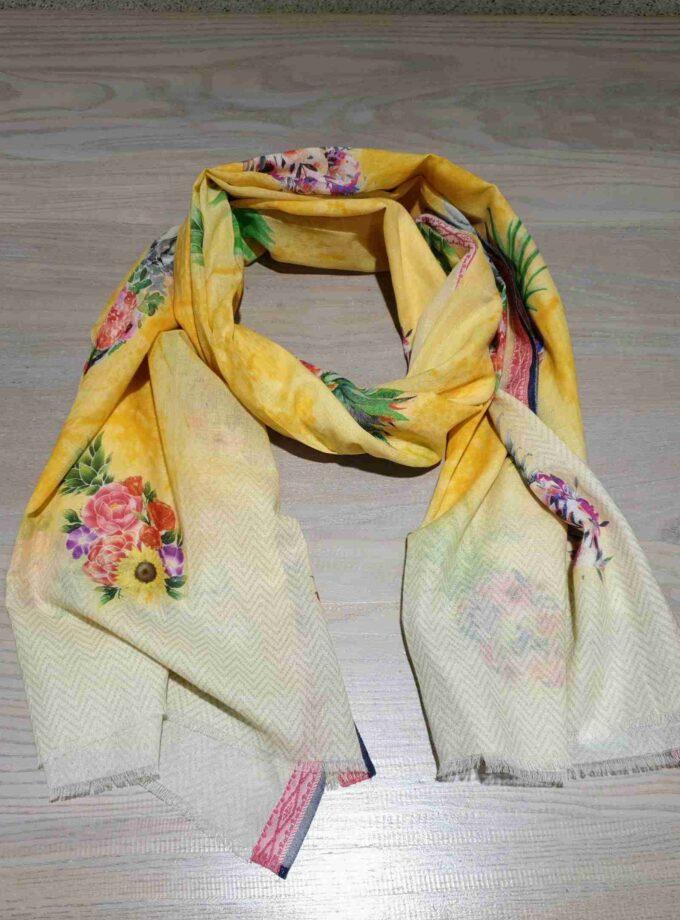 katoenen sjaal ananas geel bloemen