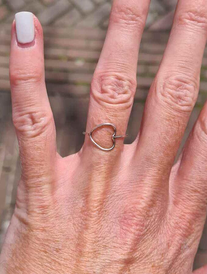 ring met hartje zilver open