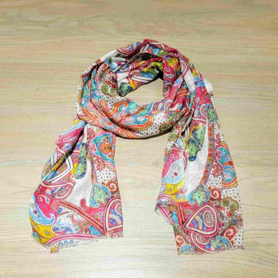 Kleurrijke sjaal linnen met modal en paisley print
