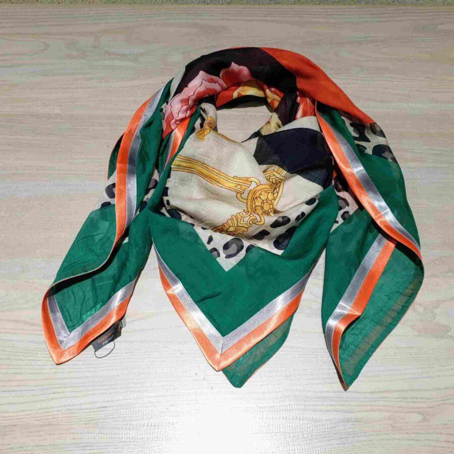 vierkante sjaal groen oranje blokken