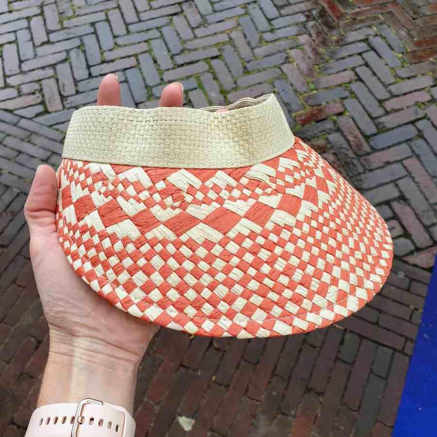Zonneklep gevlochten klittenband oranje