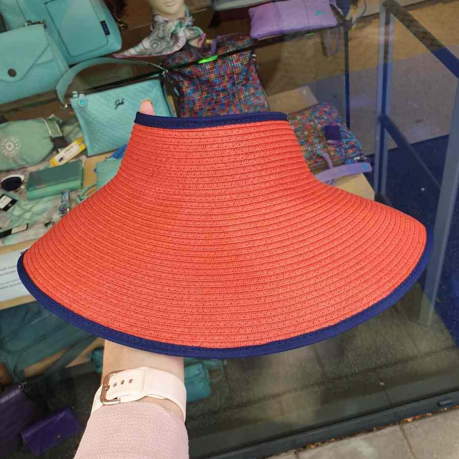 Zonneklep oprolbaar rood met blauw