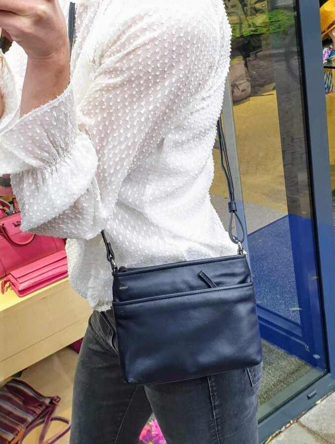 Donkerblauw leren Berba 005-330 Soft vierkante tas