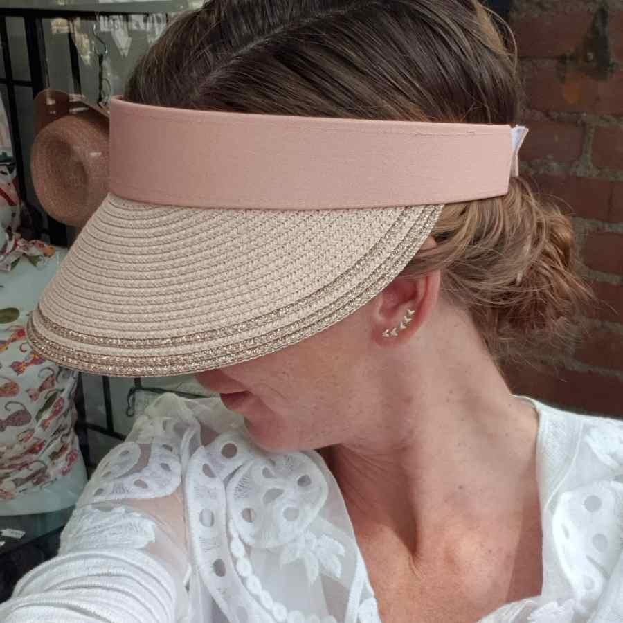 Roze zonneklep klittenband