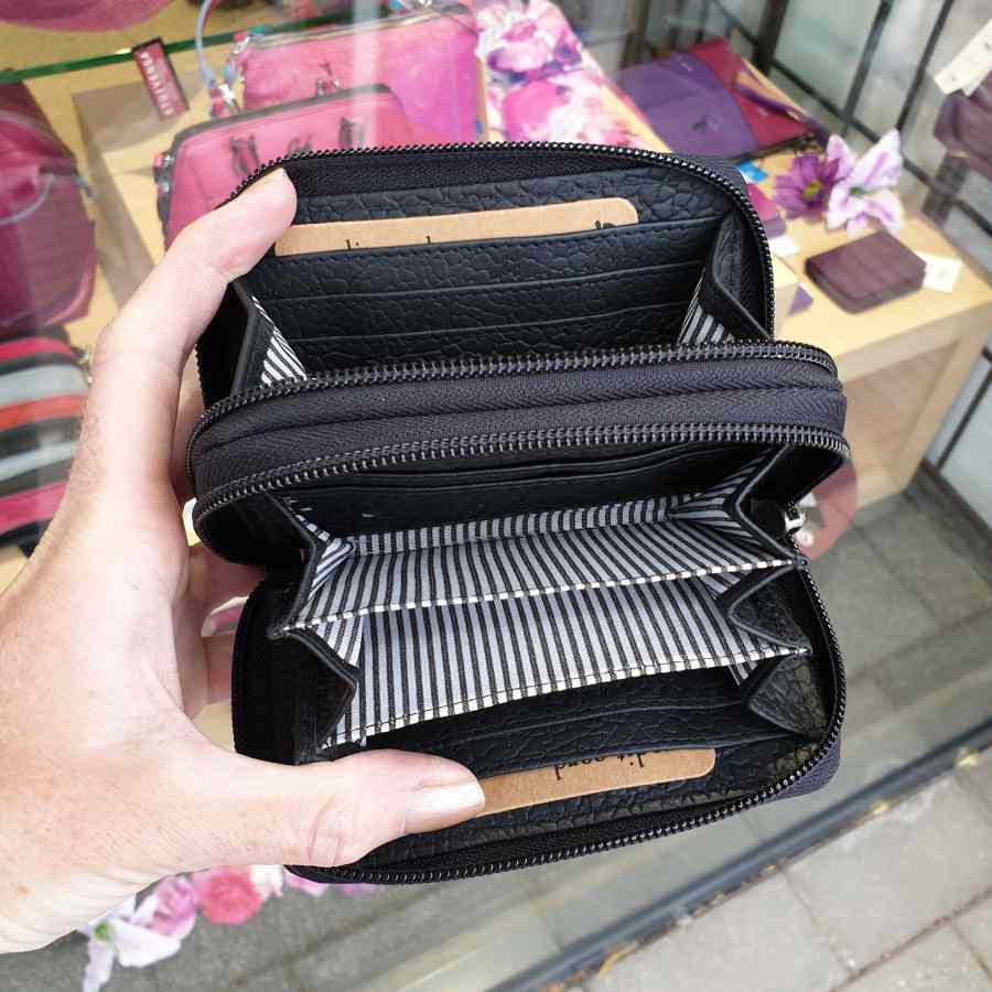 Zwarte portemonnee dubbele rits van Berba