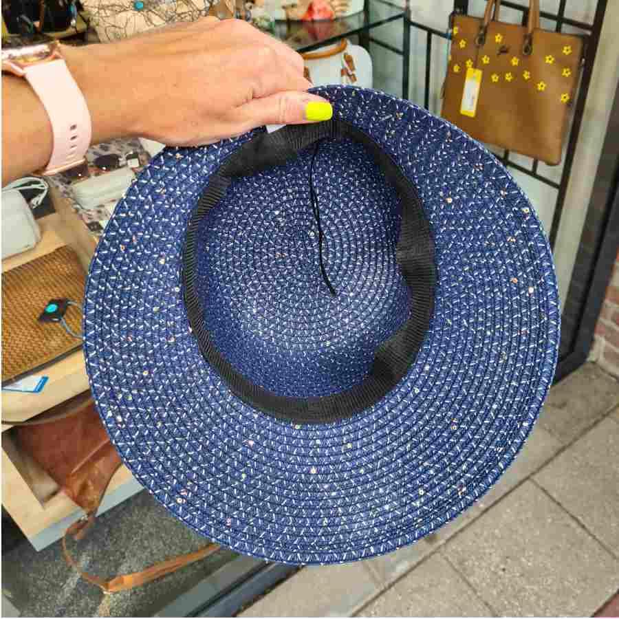 Blauwe zomerhoed pailletten en strik