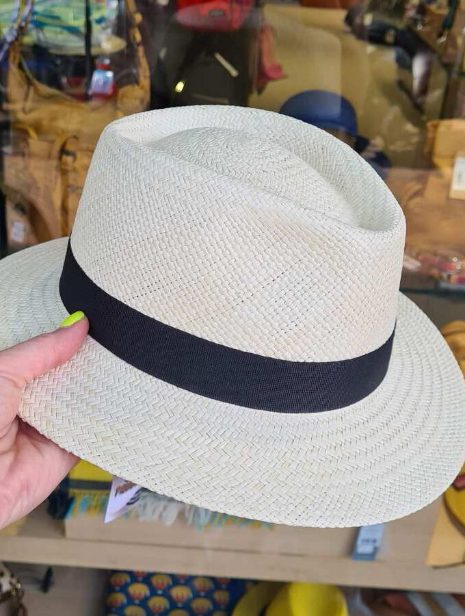 Echte panama hoed palmbladeren zwarte band