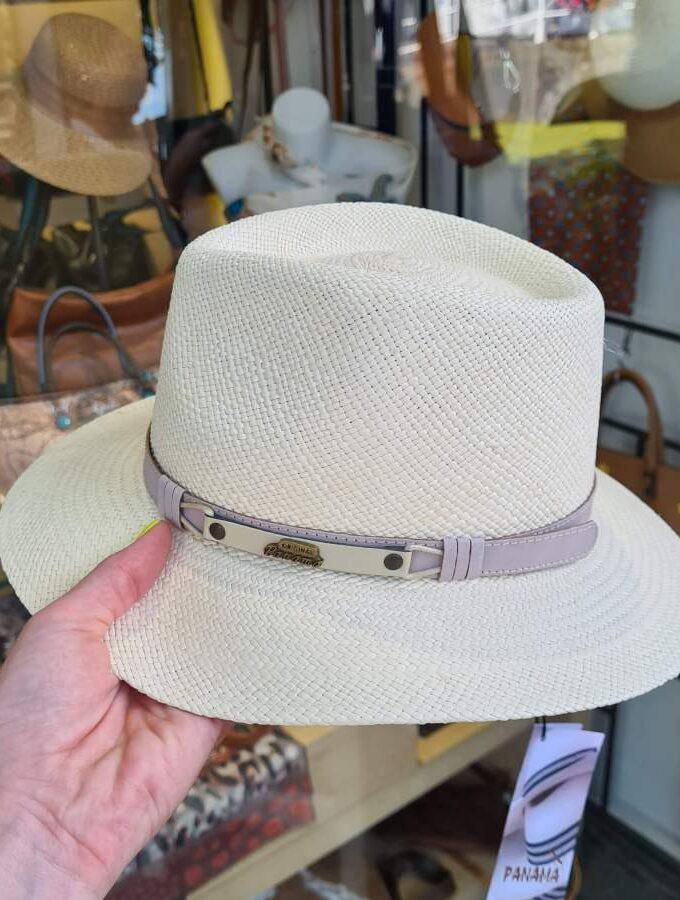 Panamahoed beige met grijze riem