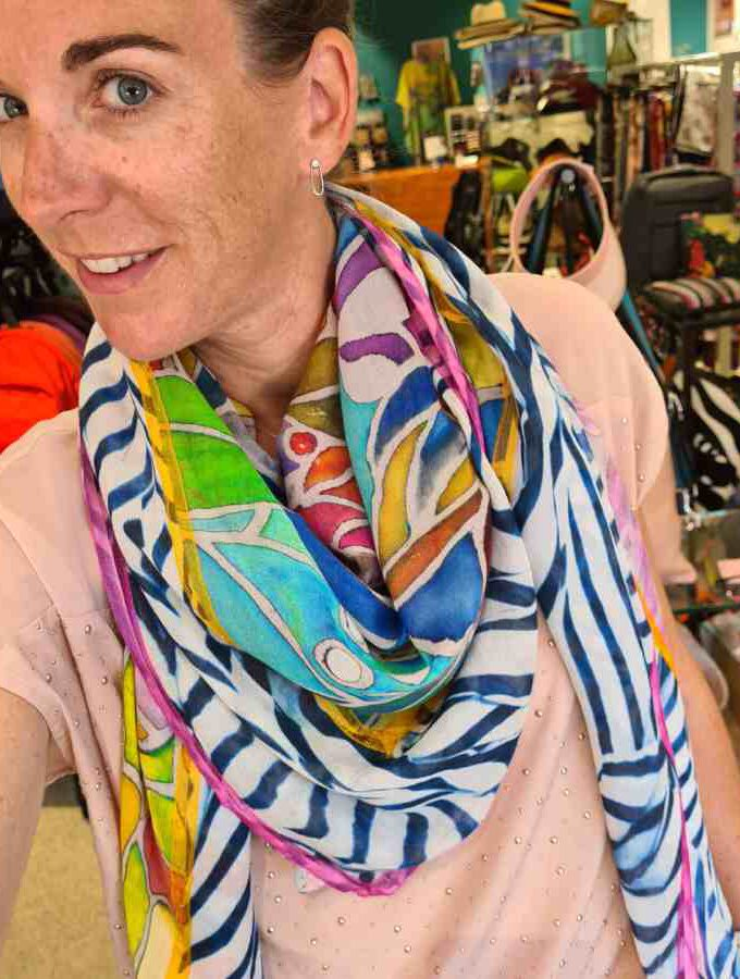 Vierkante sjaal veel kleur Modal met Katoen