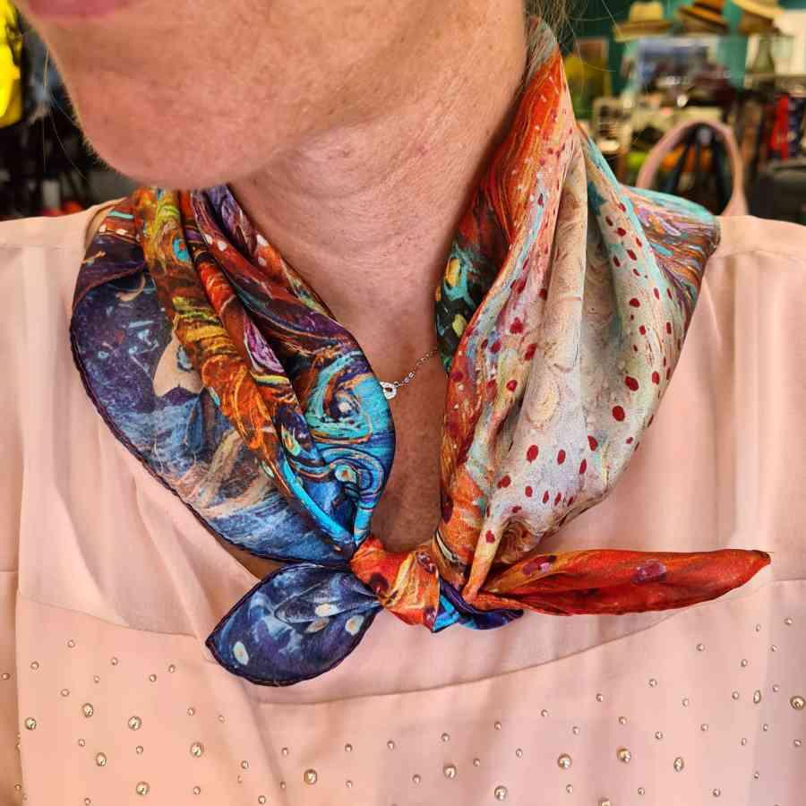 Zijden sjaal vierkant kleur pauw