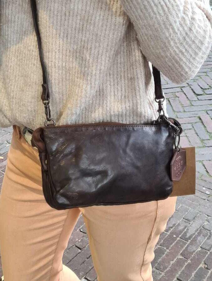 Bear Design kleine clutch met vakjes in bruin