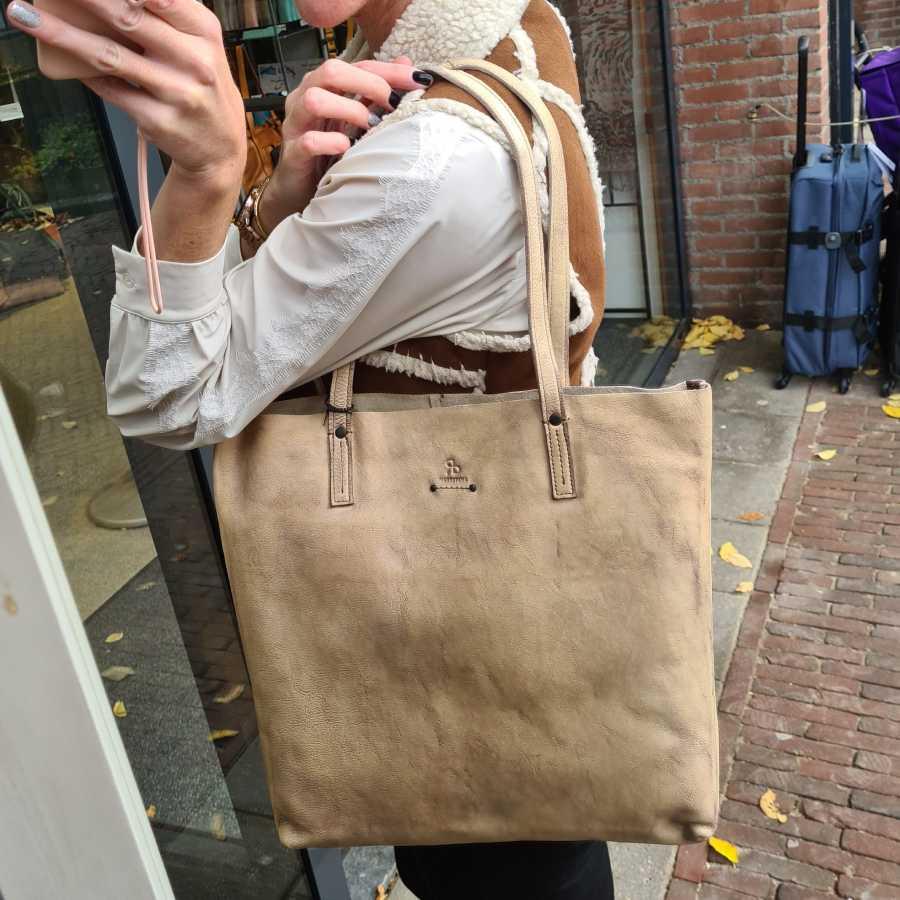 Beige shopper dames leder met rits DR Amsterdam