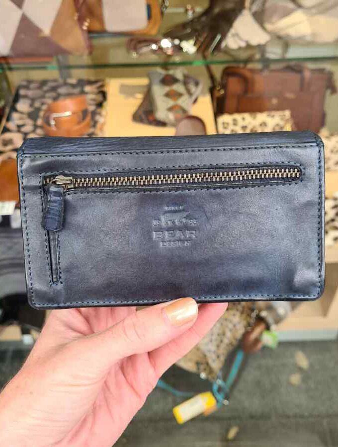 Blauwe dames portemonnee RFID overslag