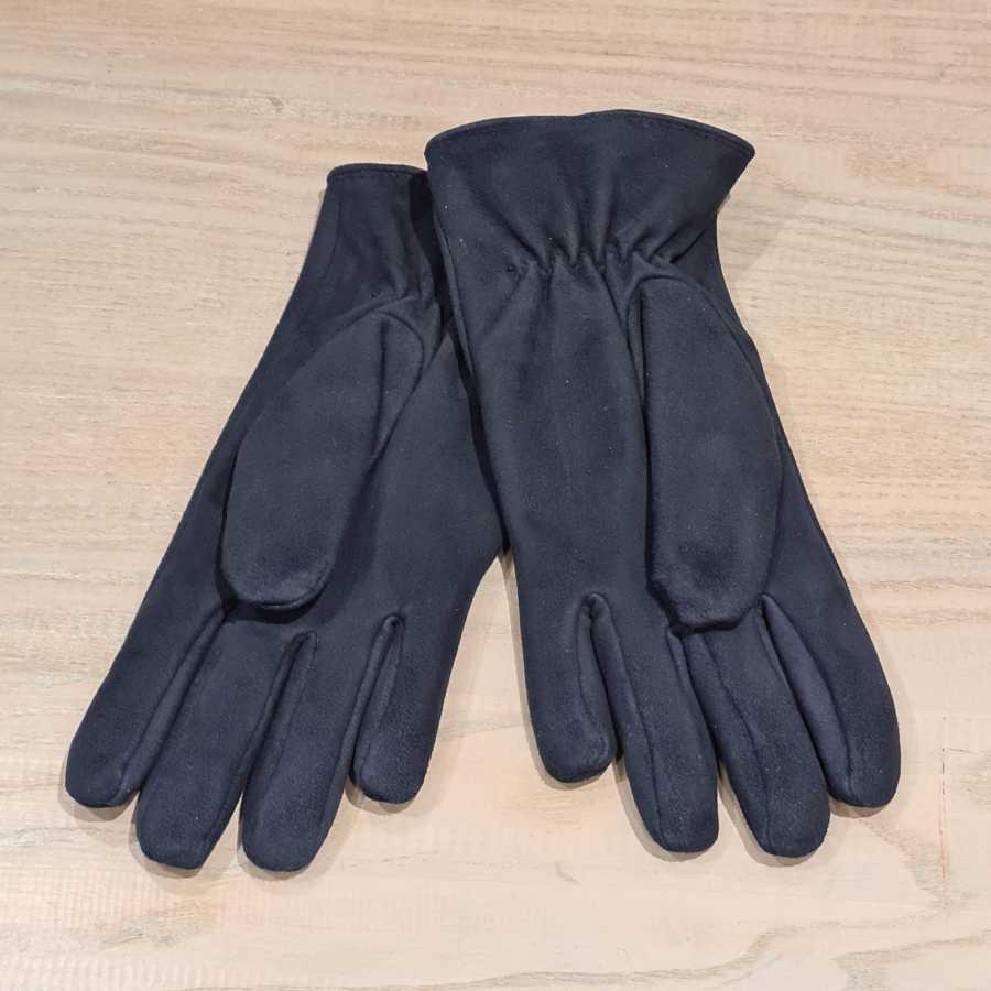 Blauwe leren handschoen dames fleece voering