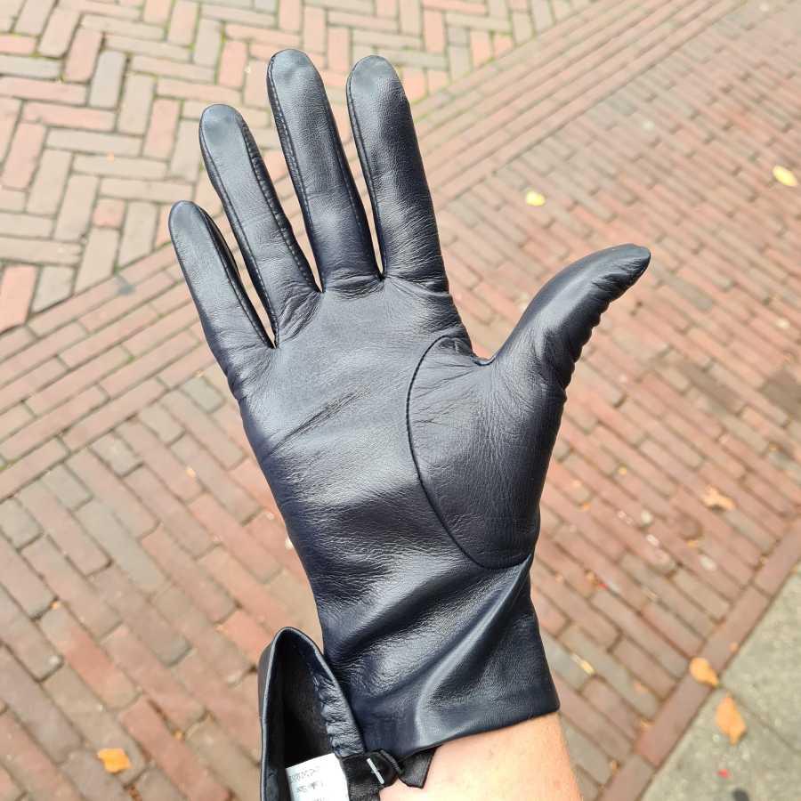 Blauwe leren handschoenen dames met dopjes