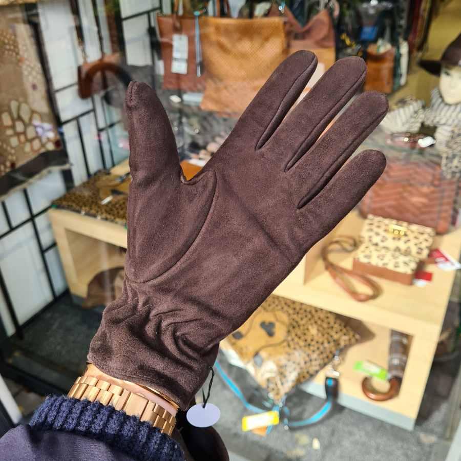 Bruin leren handschoen dames fleece voering