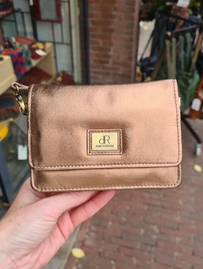 Clutch koper bruin vierkant mdel met klepje
