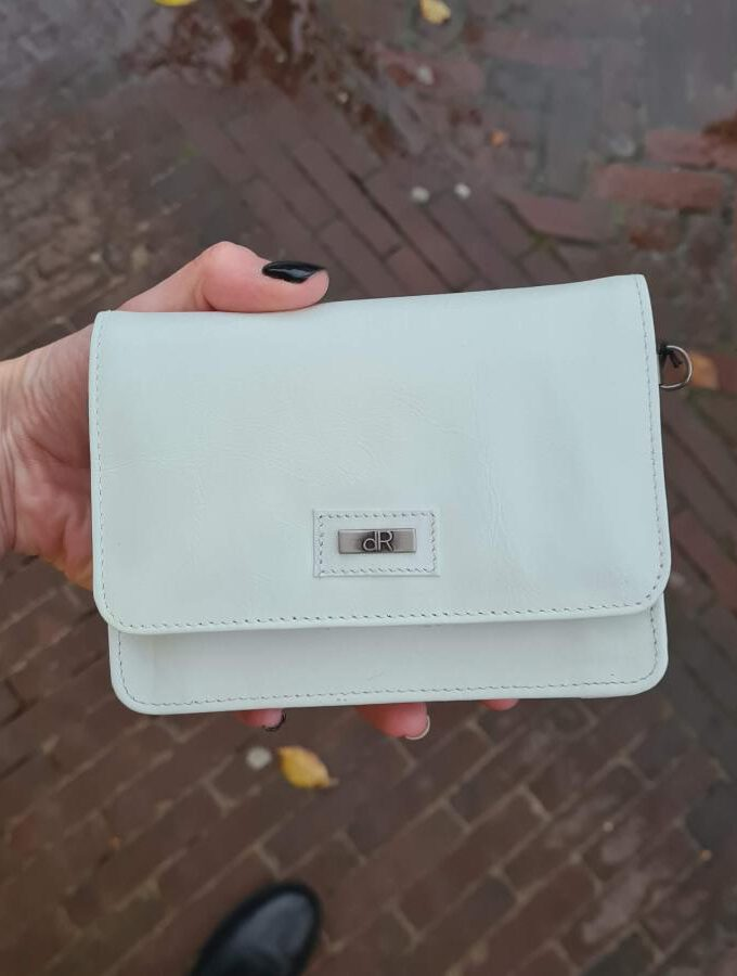 Clutch wit leer vierkant model met klep
