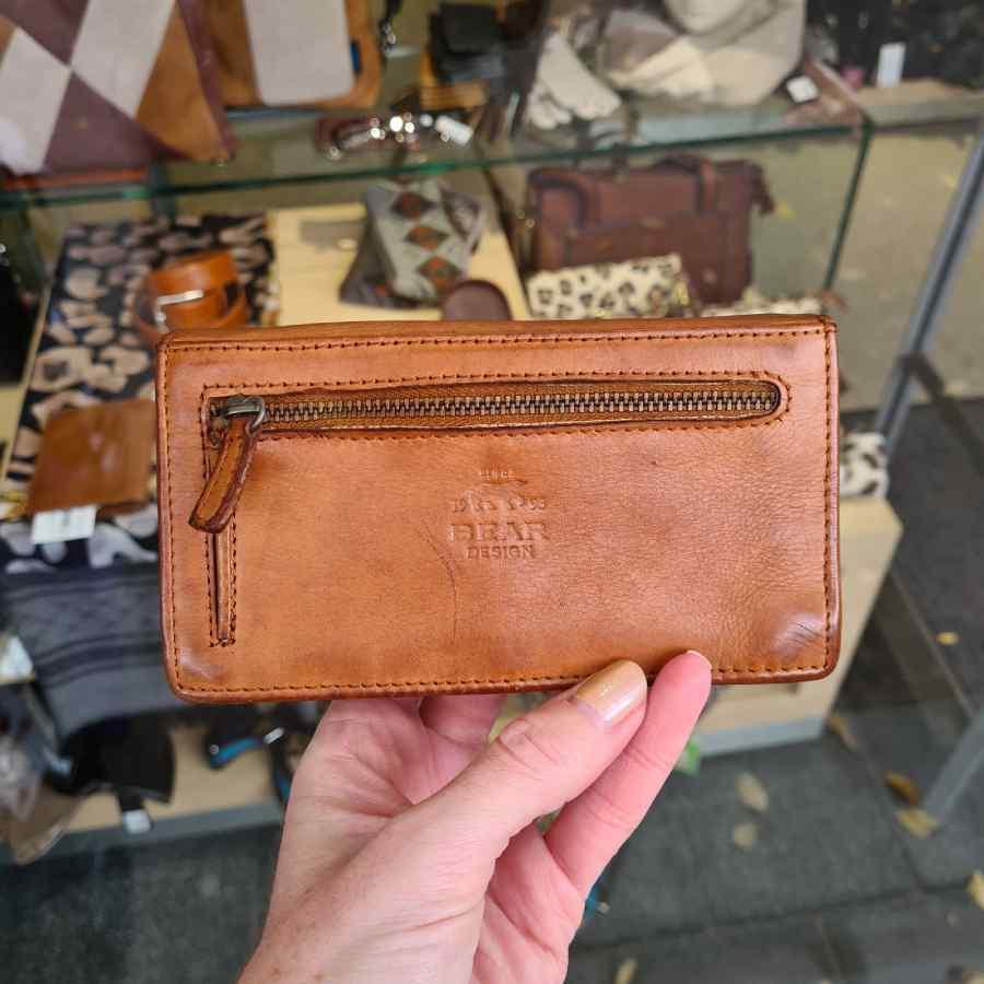 Cognac dames overslag portemonnee RFID