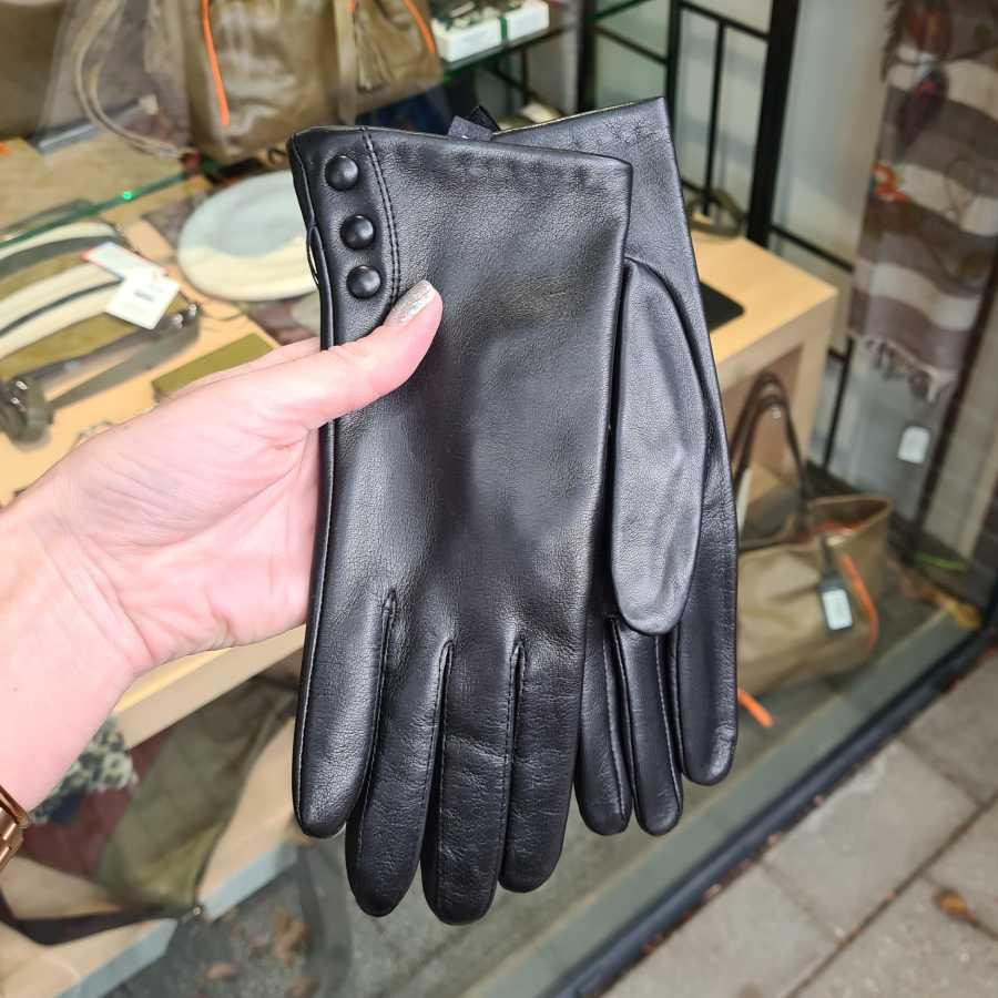 Dames handschoenen glad leer dopjes zwart (1)