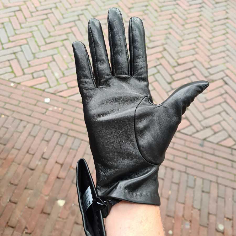 Dames handschoenen glad leer dopjes zwart