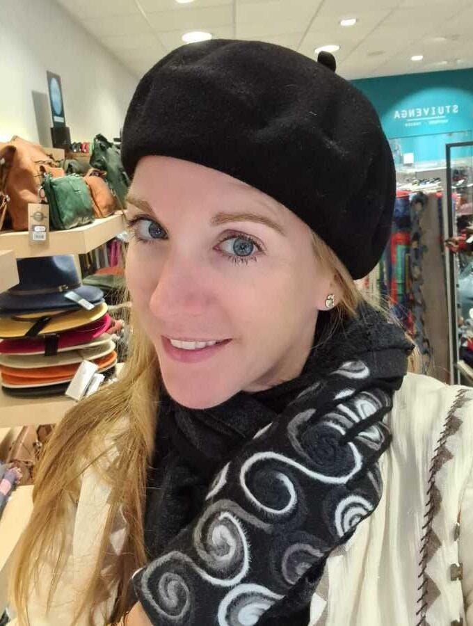 Franse baret van 100% wol in zwart