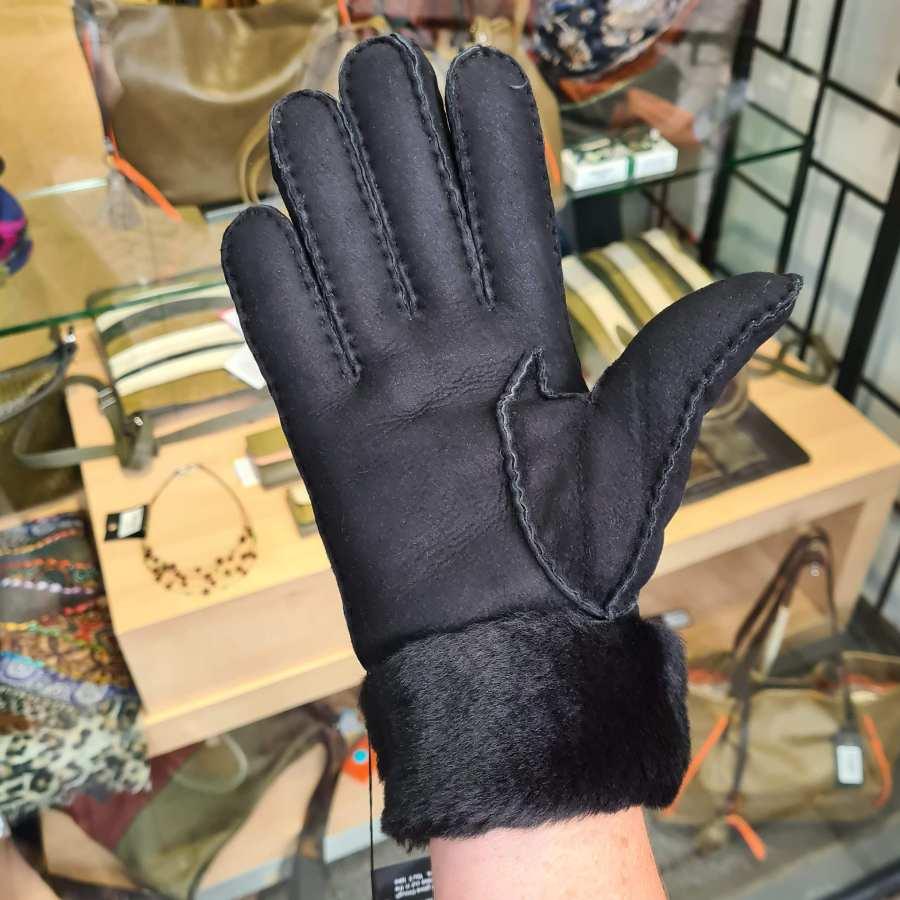 Heren handschoenen met vacht in zwart