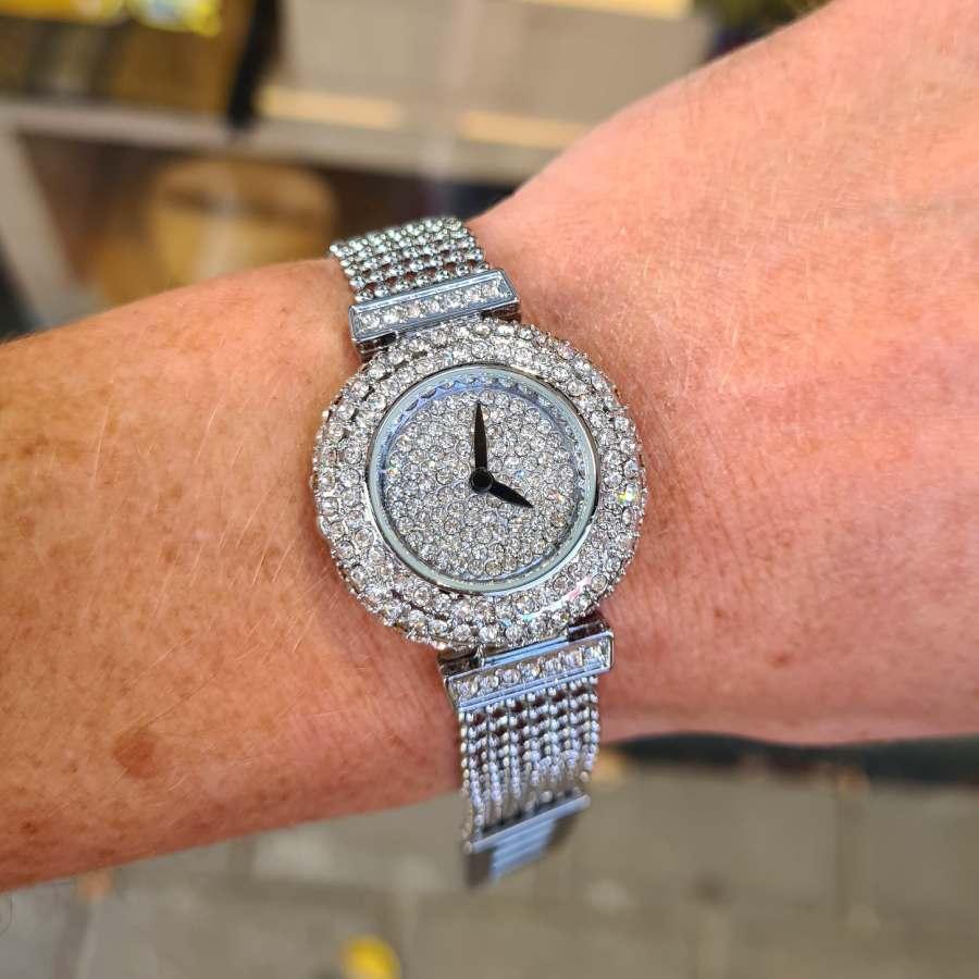 Horloge bling klok met zirkonia steentjes