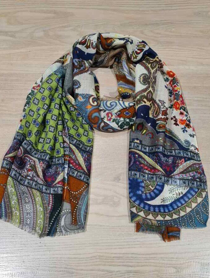 Kleurrijke sjaal paisley print wol