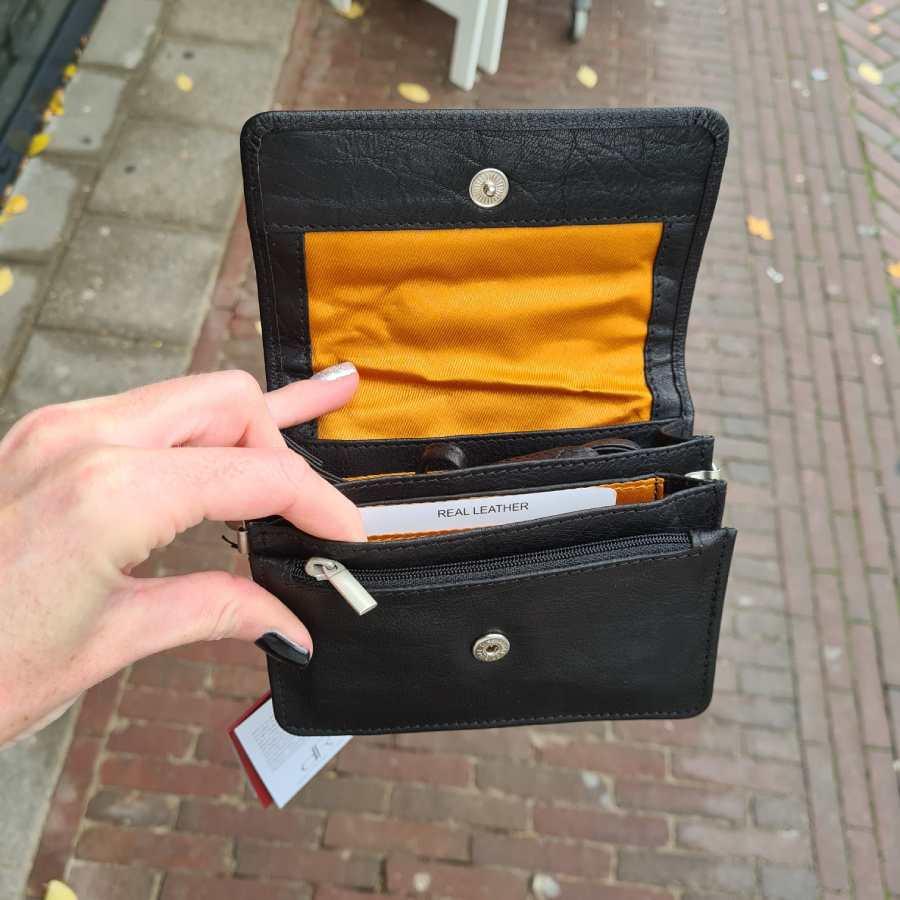 Leder clutch zwart leer met klepje DR Amsterdam