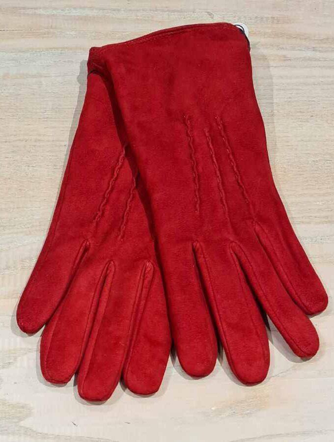 Rode leren handschoen dames fleece voering
