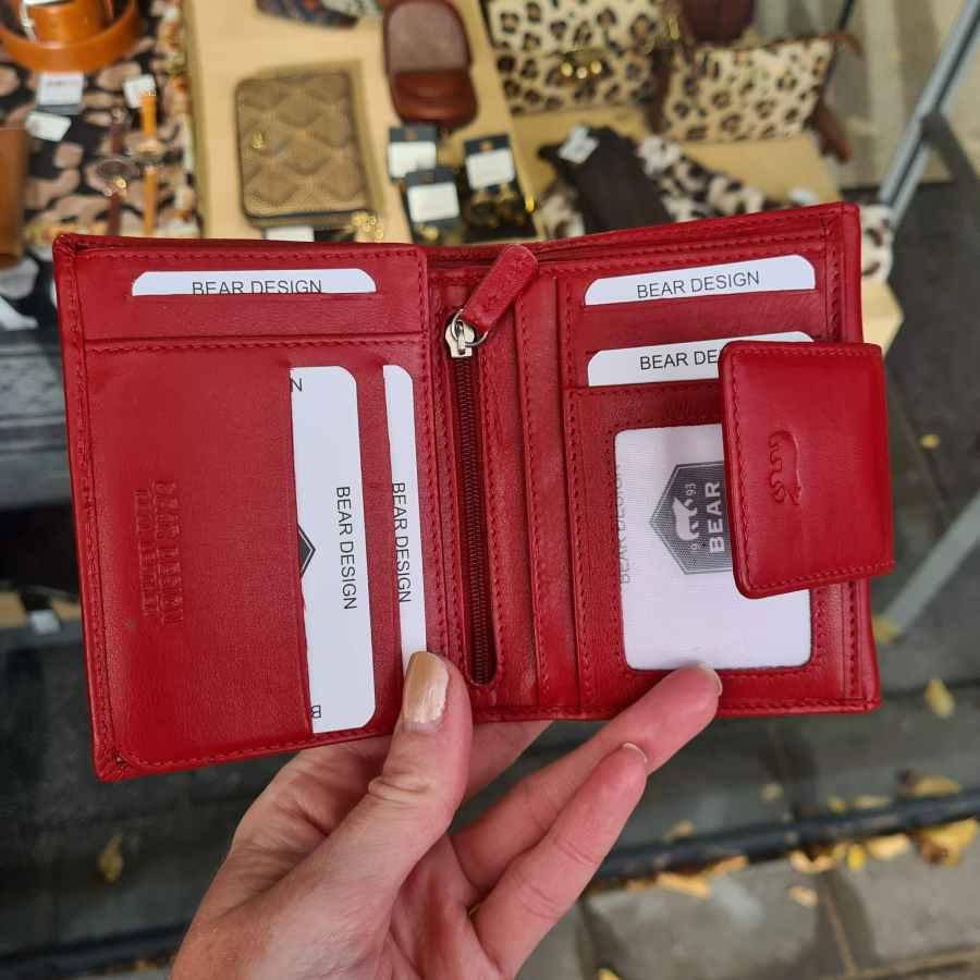 Rode portemonnee zacht leer Beardesign