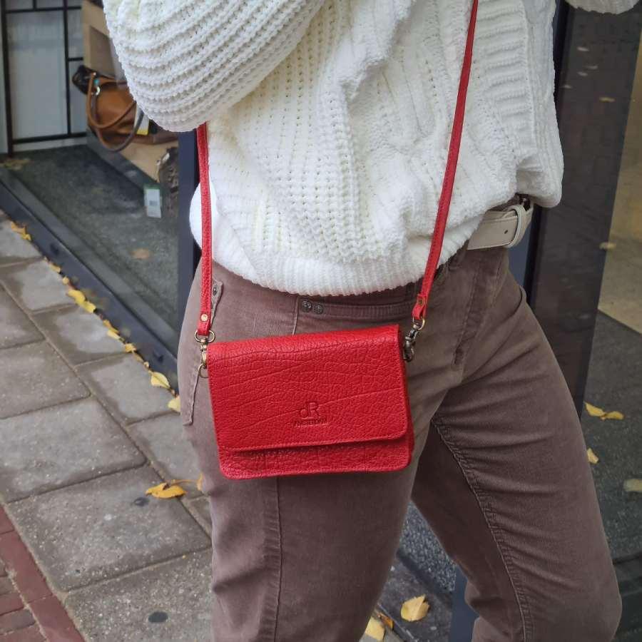 Rood tasje leer vierkant model DR Amsterdam