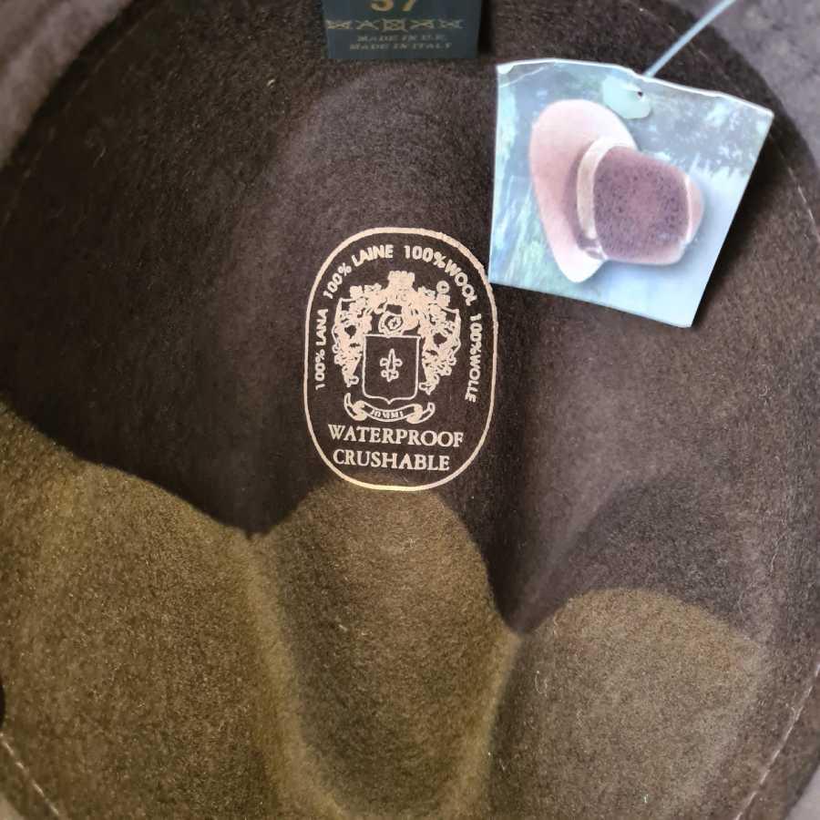 Winterhoed bruin wol crushable waterproof