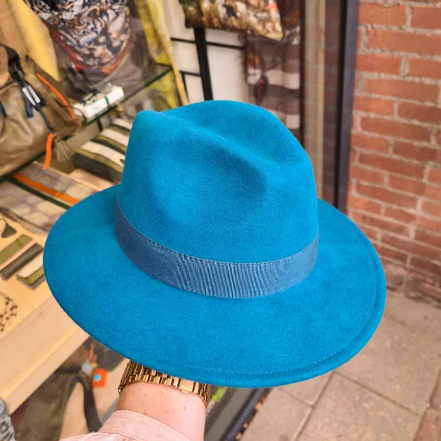 Wollen hoed dames turquoise groen blauw