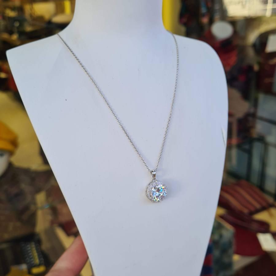 Zilveren ketting hanger steen zirkonia