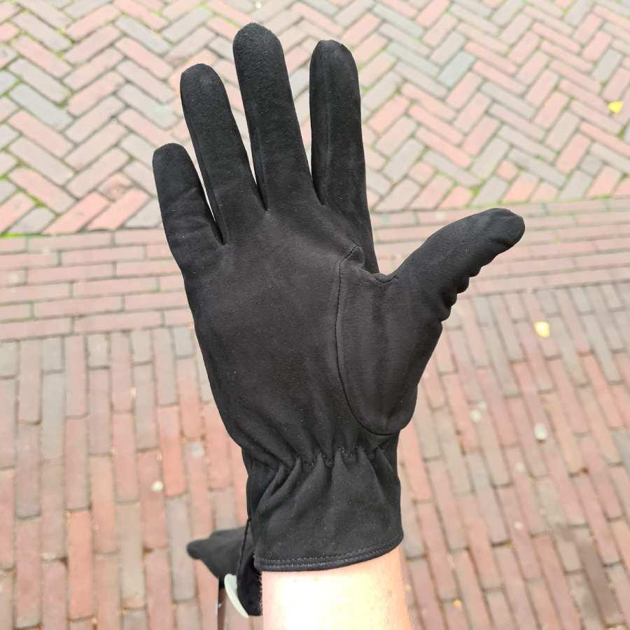 Zwarte leren handschoen dames fleece voering