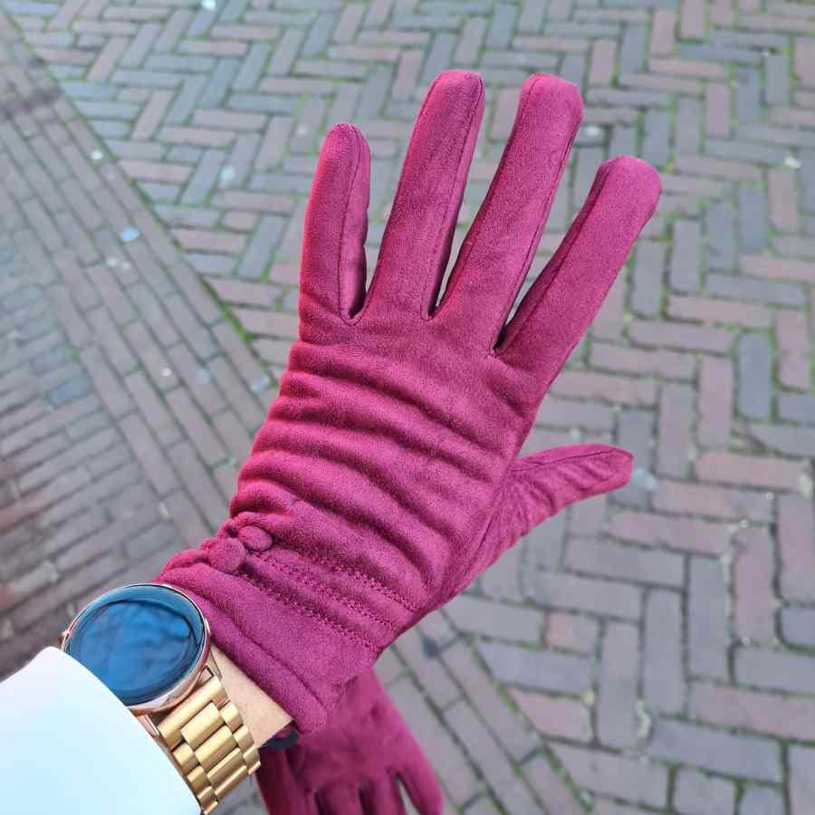 Bordeaux handschoenen met dopjes zachte voering