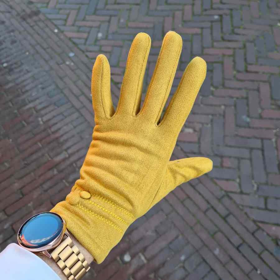Gele handschoenen met dopjes zachte voering